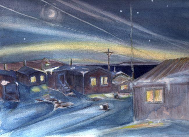 Arctic Midnight Sun and Moon